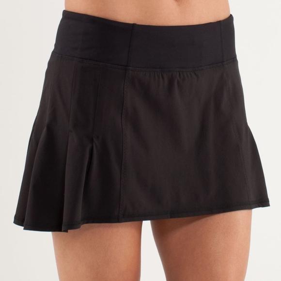 lululemon athletica Dresses & Skirts - Lululemon | Run in the Sun Black Skirt Skort 10